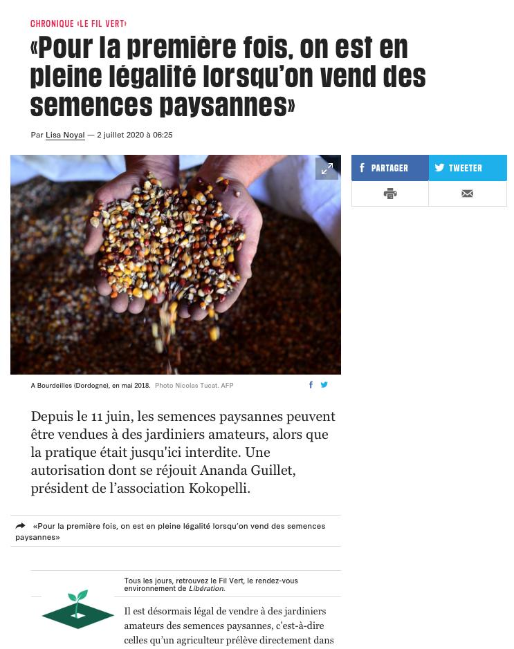 Libération, le 2 juillet 2020